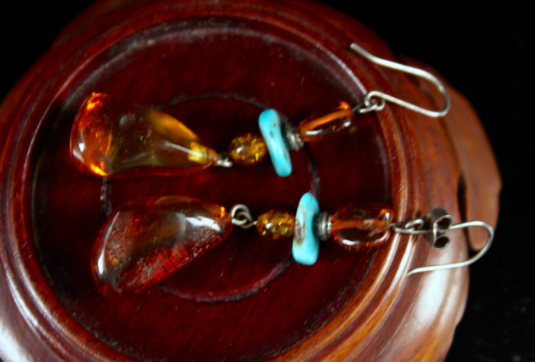 Pair of Slver Decorated with Turquoise and Agate