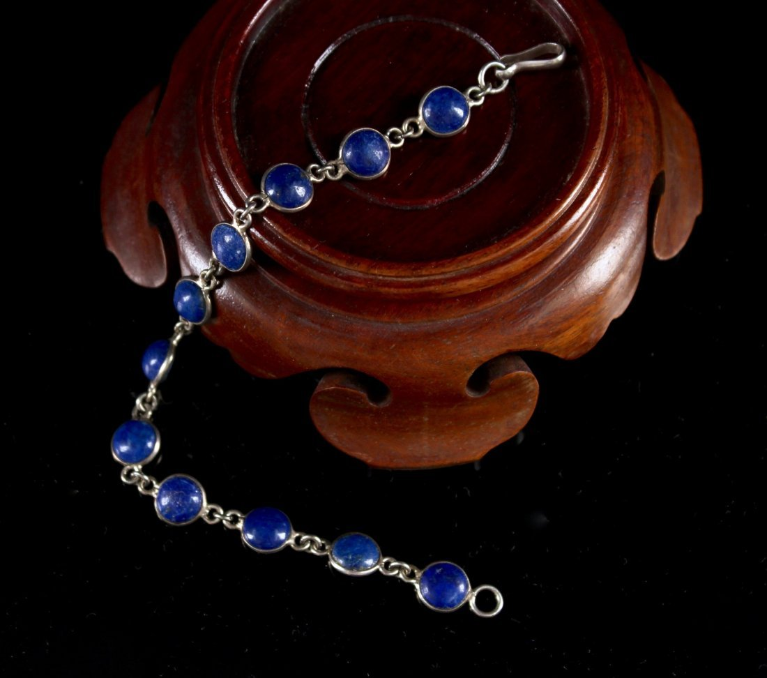 Silver Inlaid Lapis Lazuli Bracelet