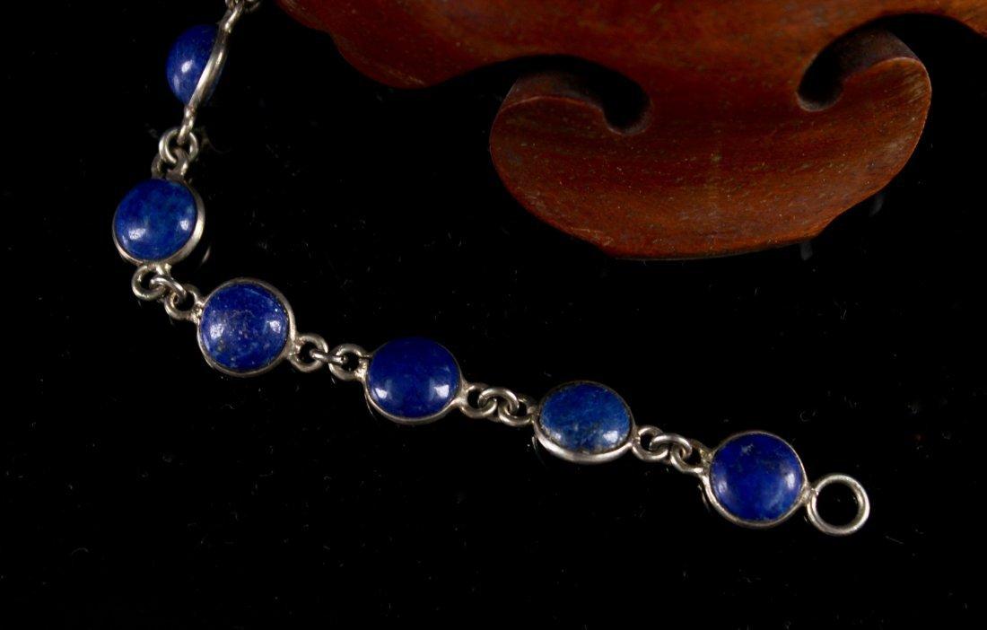 Silver Inlaid Lapis Lazuli Bracelet - 2