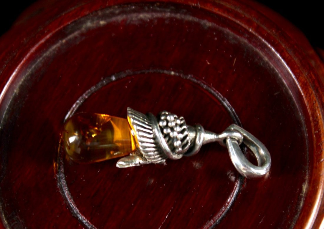 Silver and Amber Pendant