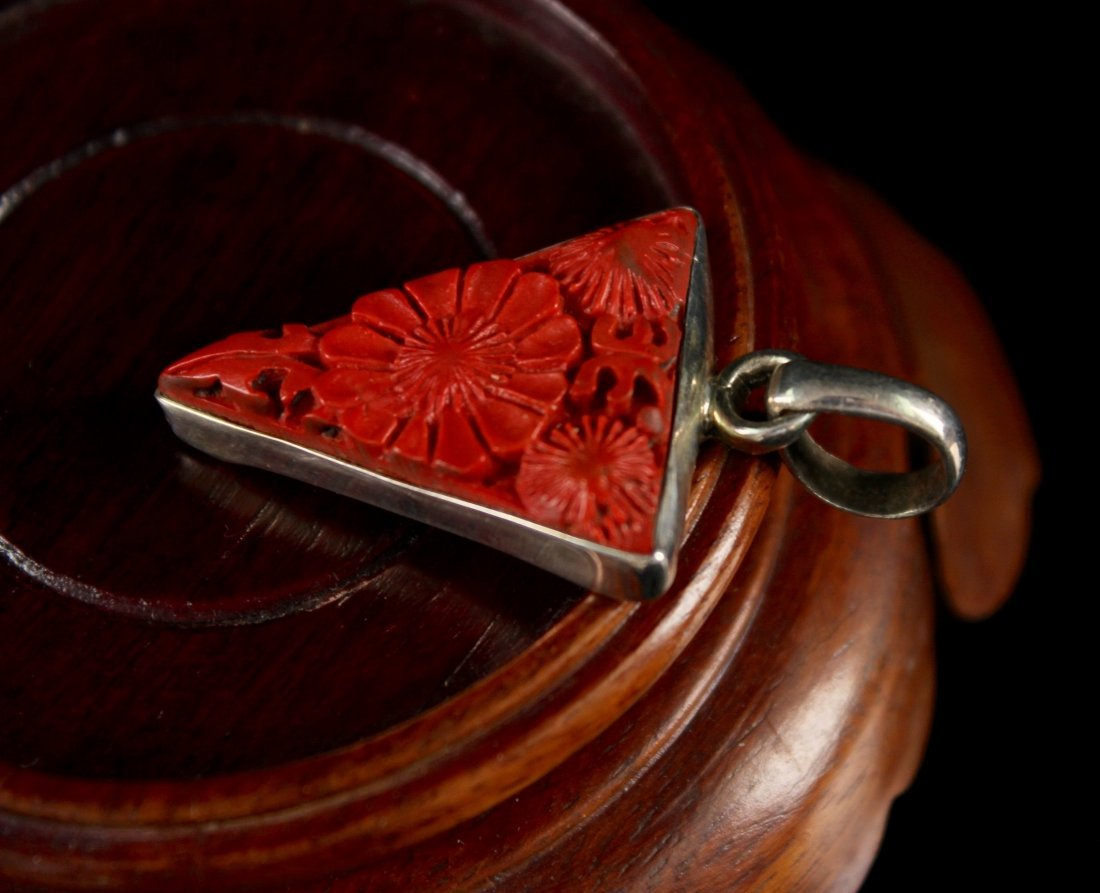 Silver and Red Carved Lacqerware Pendant