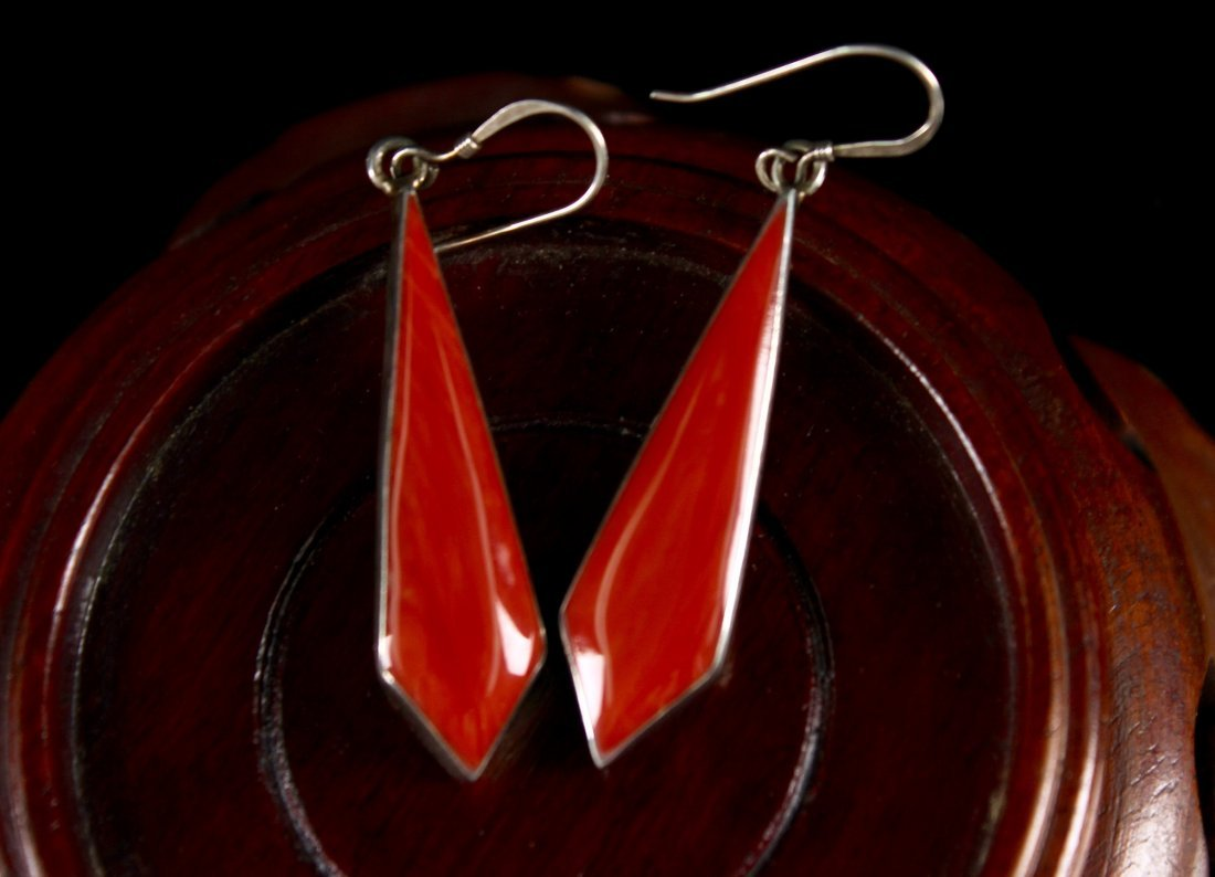 Pair of Silver and Agate Earring