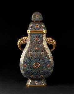 Cloisonne Lotus Square Vase Qianlong Period