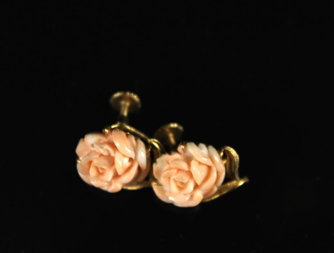 Pair of 14k Gold and Coral  Earrings Carved with Peony