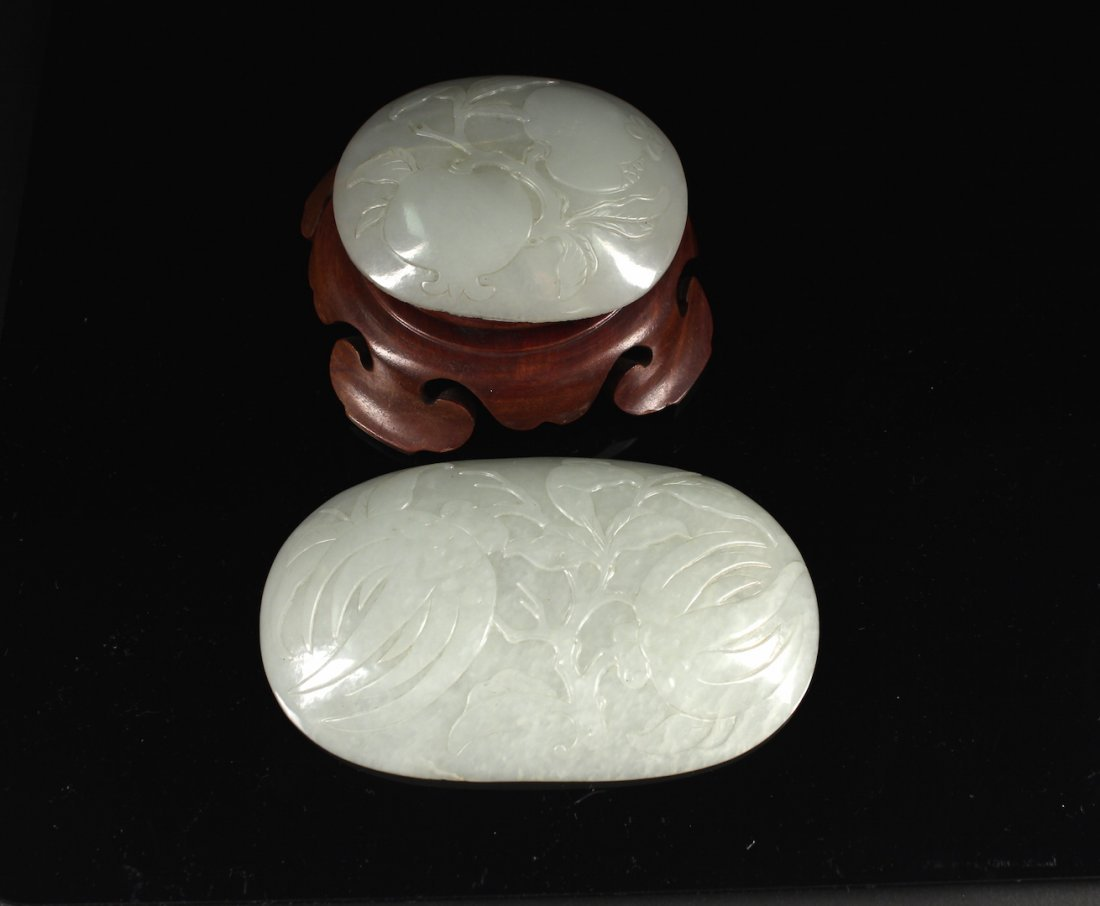 Two Pieces of White Jade RUYI Tile Qing Dynasty