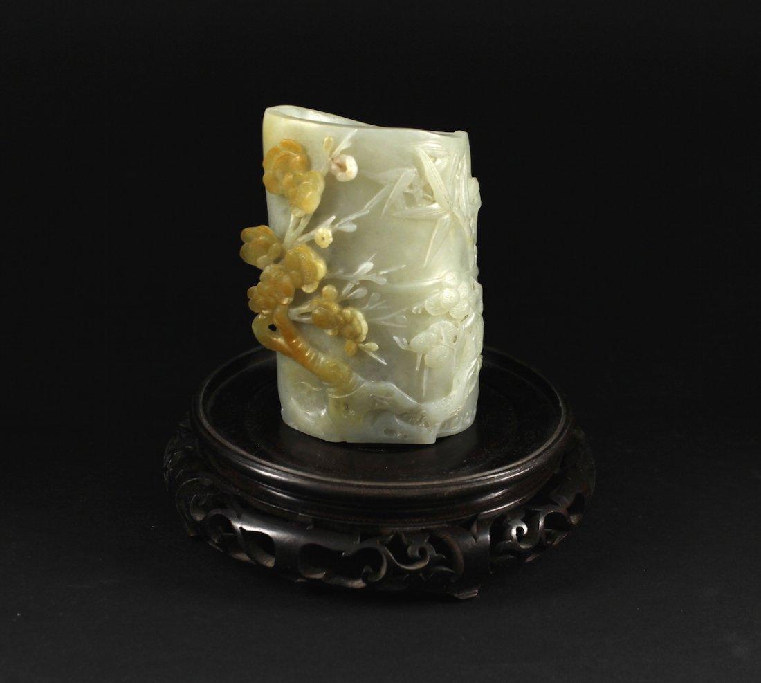 He-tian White Jade Brush Pot Qing Dynasty Period