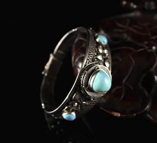 Inlaid with Turquoise Silver Bracelet