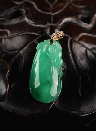 Jadeite Carved with a Ruyi Pendant
