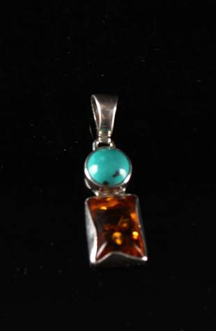 Silver Inlaid with Turquoise and Amber Pendant
