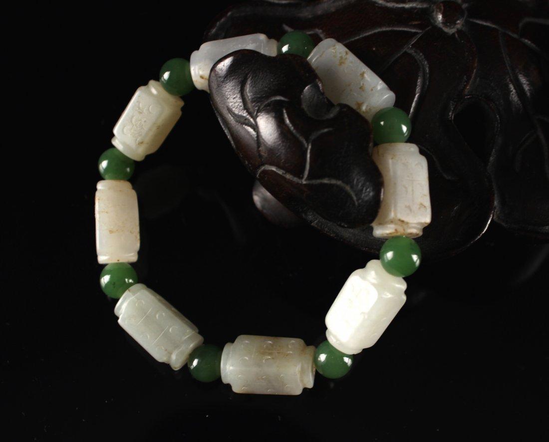 Ancient He-tian Jade cong-shaped Bracelet