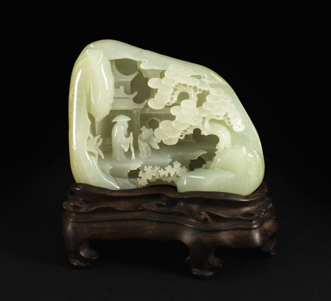He-tian White Jade Carved Landscape Item Qing Dynasty