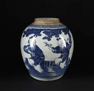 Blue&White Children at Play Jar Middle of the Qing