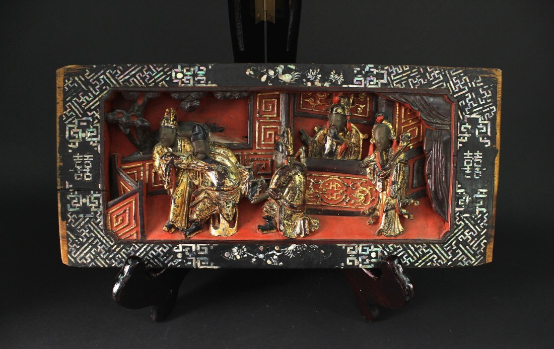 Mother of Pearl Inlay Carved with Story Board Qing