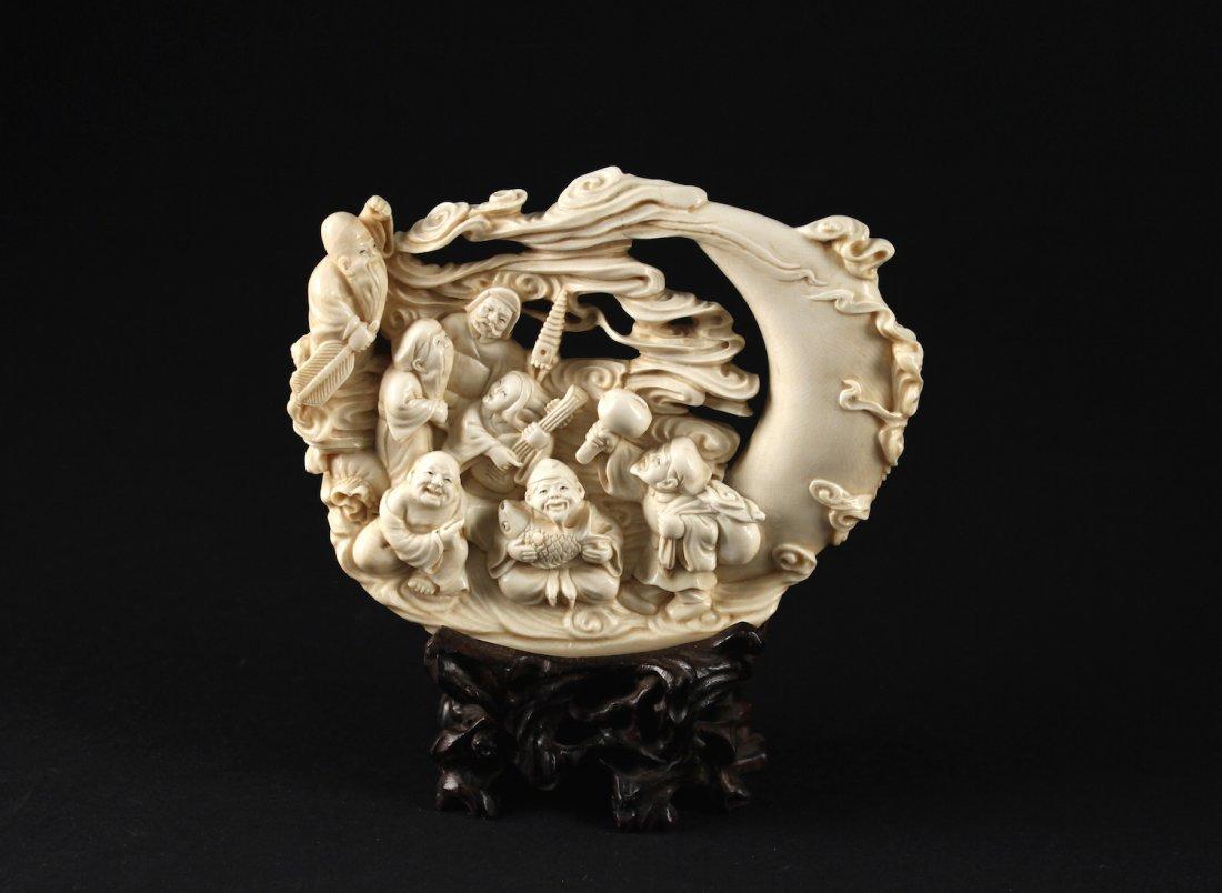 Japanese Mammoth Ivory Carved Seven Lucky Gods Item