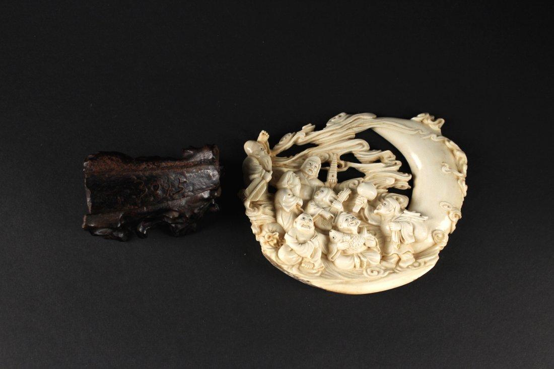 Japanese Mammoth Ivory Carved Seven Lucky Gods Item - 4