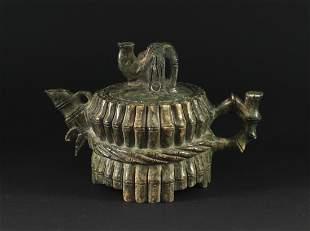 Stone Carving with Sheaf Bamboo Shape Tea Pot