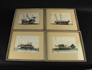 Four Pieces of Rice Paper Water Color Painting Qing