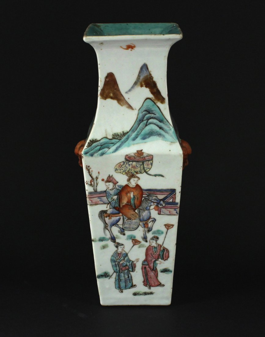 Famille Rose Traditional Story Square Vase Daoguang