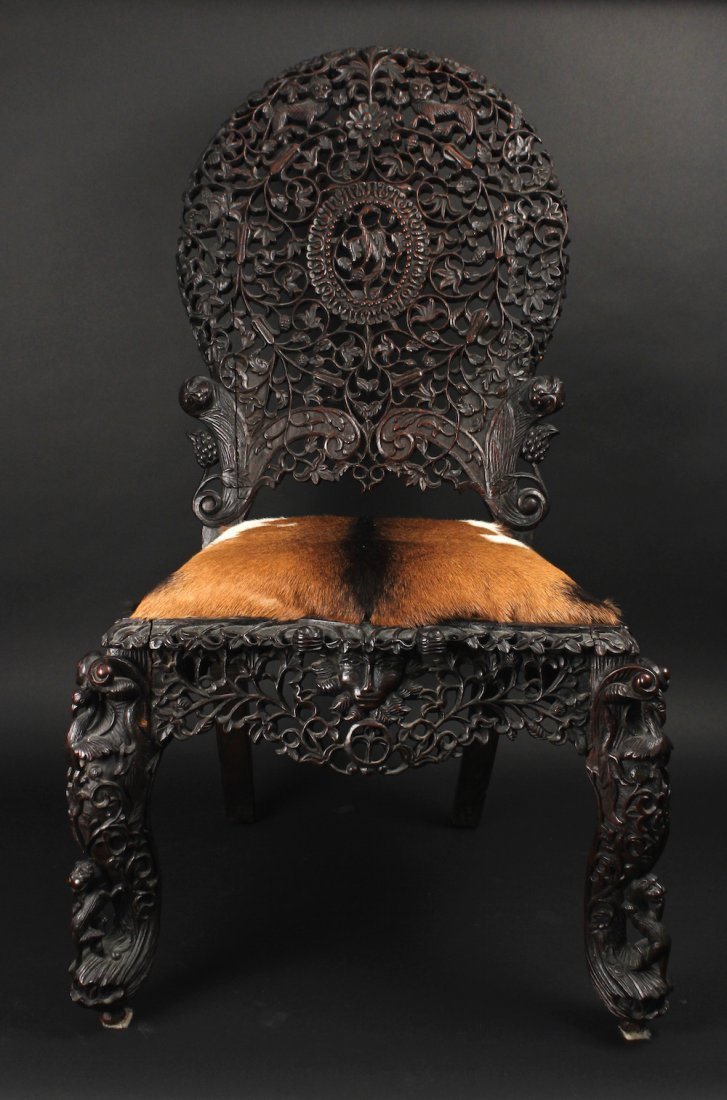 Mid-19th Anglo-Indian Allover Pieced Zi-Tan Side chair