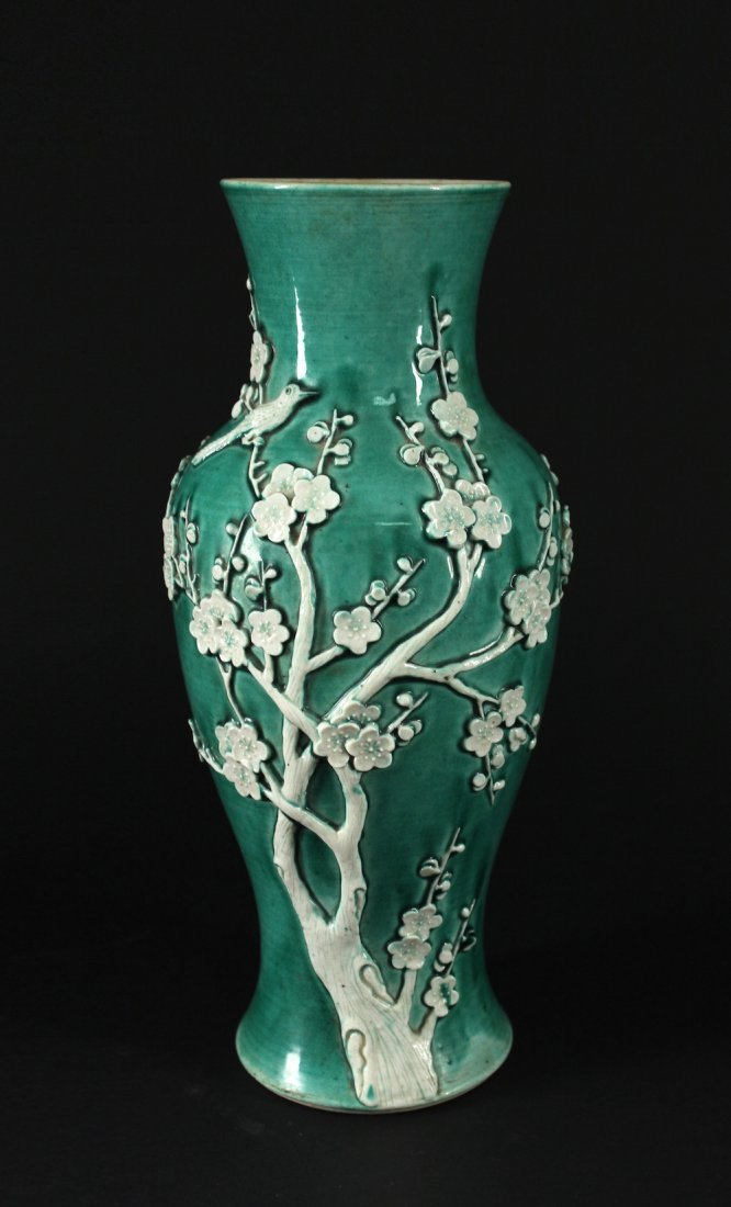 Green Glaze Magpie and Plum Vase late Qing Dynasty