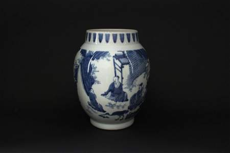 Blue and white traditional Story Jar Ming Chonzhen