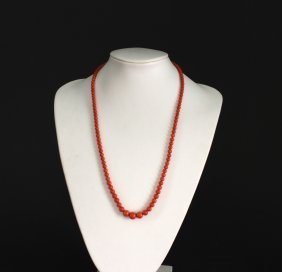 Ancient Coral Beads Necklace Qing Dynasty Period