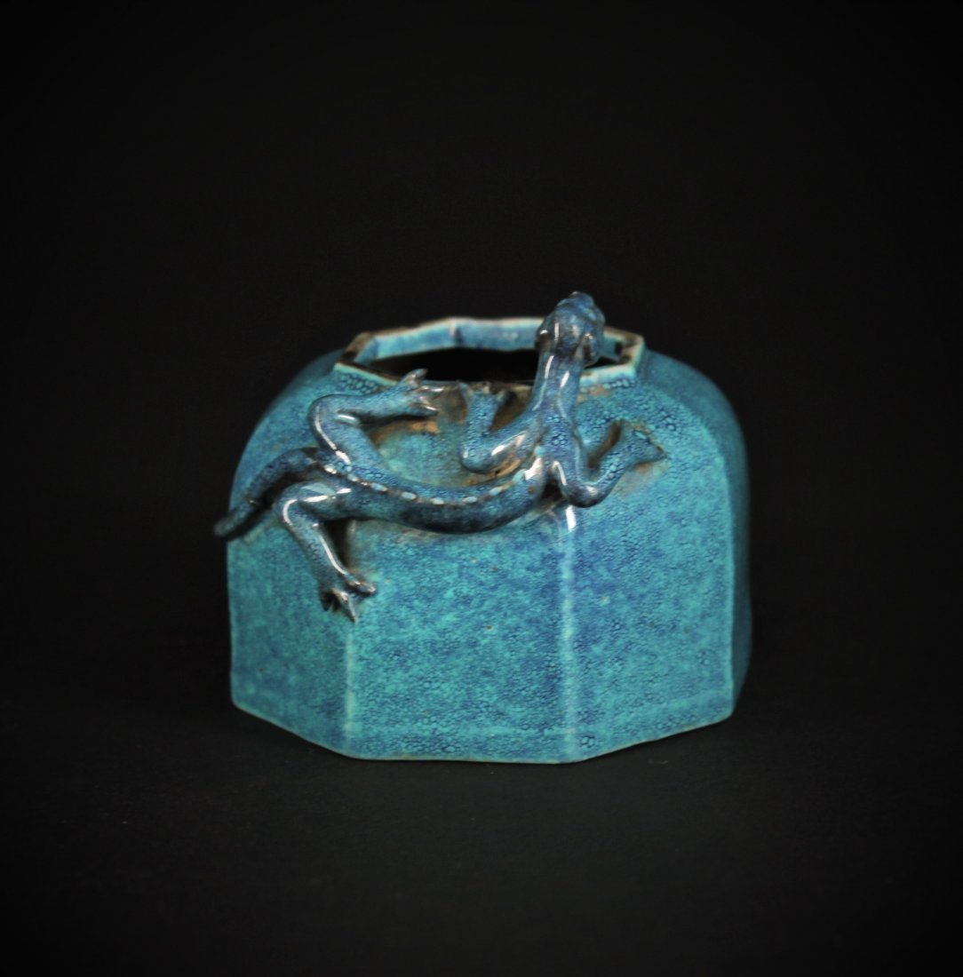 Robin's Egg Dragon Water Container for Inkstone Qing