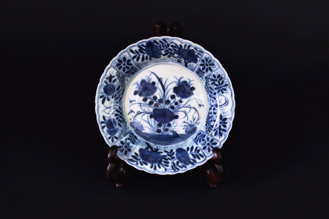 Blue and White Flowers&Birds Dish Kangxi Period