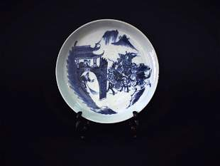 Blue and White Traditional Story Dish Middle of the