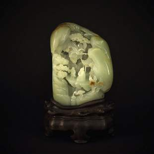 Hetian Green Jade Carved with Landscape Decorative Item