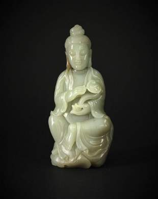 Hetian Jade Carved with Guanyin Figures Statue Qing