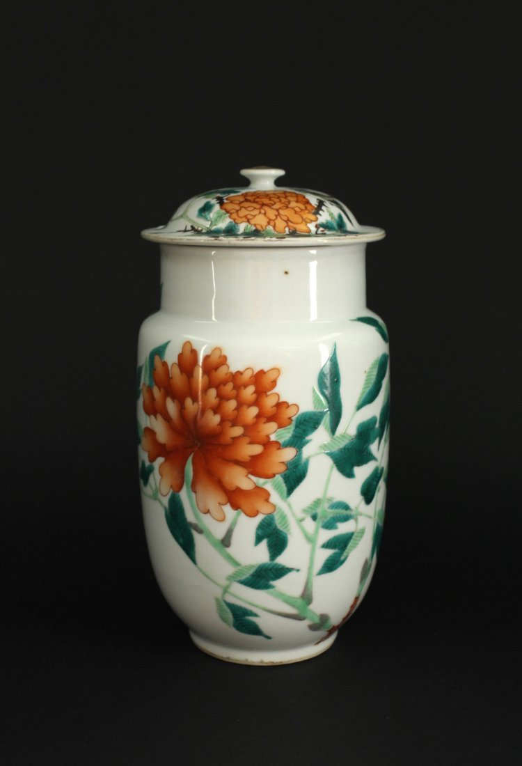Iron Red and Green Color Bird&Flowers Jar Republican