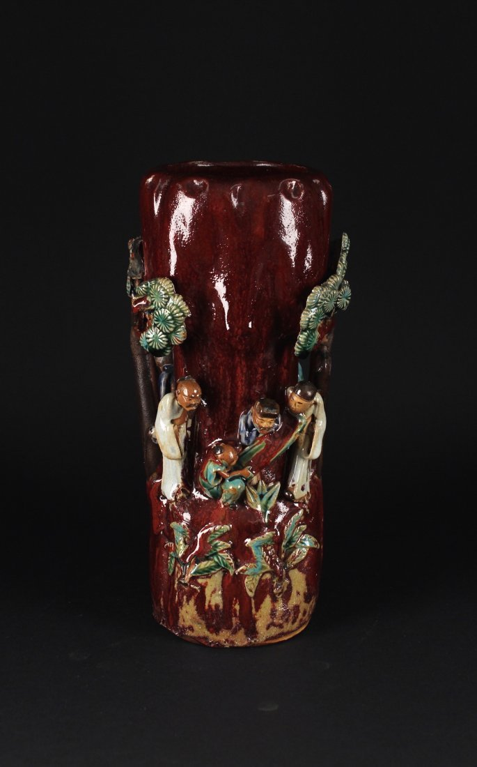 Shiwan Kiln Carved with Story Vase Republican Period