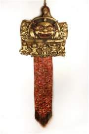 Copper Gilt Esoteric&Guardian Buddhism pendant 18th