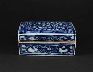 Blue and White Square Box with Cover Qing Dynasty