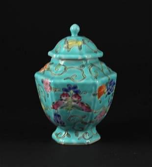 Famille Rose Hexagonus Jar with Cover Guangxu Period