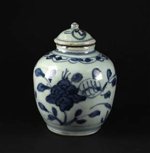 Blue and White Jar with Cover Ming Dynasty Wanli Period