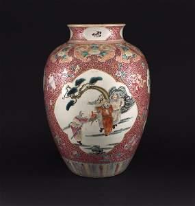 Color Enamel Story Pattern Vase Qianlong Period