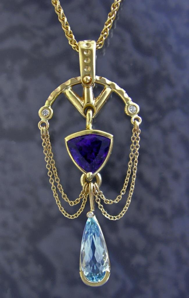 Custom Amethyst / Aquamarine Pendant Set in 14k Gold