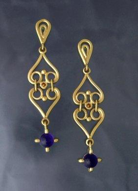 Custom Amethyst Double Heart Scroll Earrings, 14k Gold