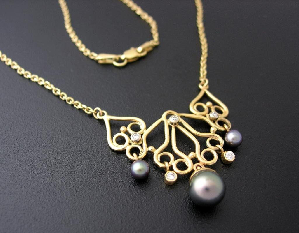 Custom Tahitian Black Pearl / Diamonds Necklace, 14k