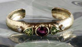 Custom 14k Cuff Bracelet Tourmaline, Peridot & Diamonds