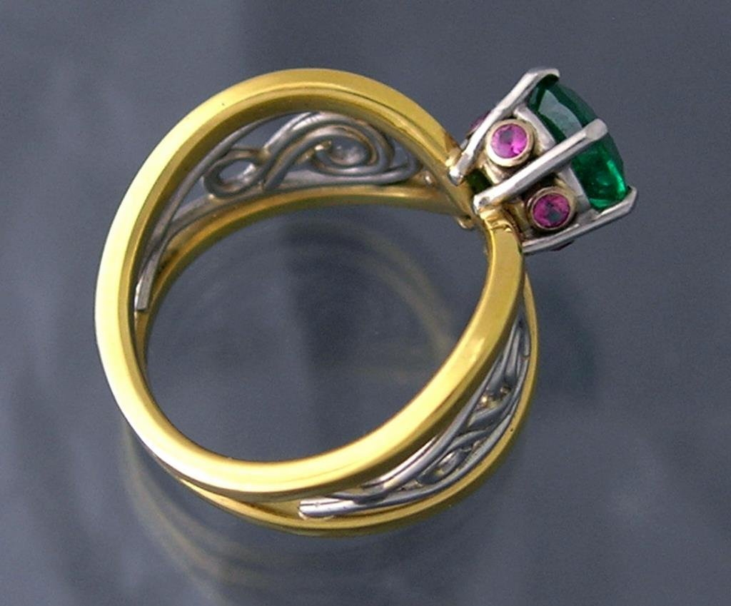 Custom 18K / Platinum Ring - Emerald / Pink Sapphires