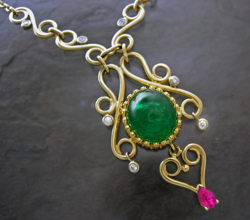 Custom Emerald / Diamond Scroll Necklace, 14k Gold