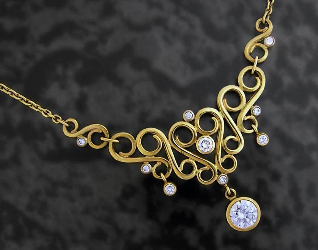 Custom 14k Gold Yellow Diamond Necklace