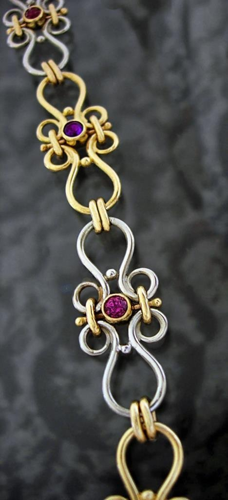 Garnet / Amethyst 14k Yellow and White Gold Bracelet