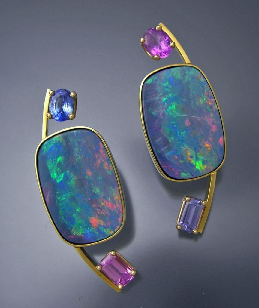 18k Gold Black Opal and Pink/Purple Sapphire Earrings