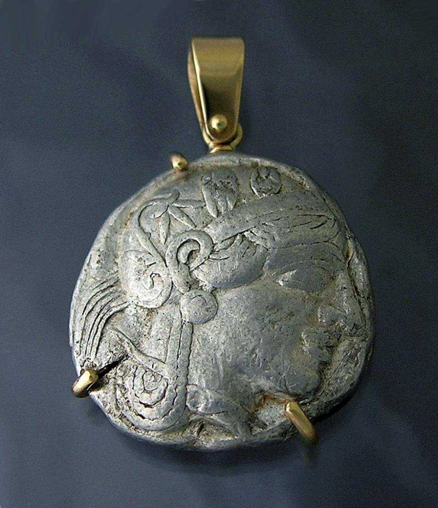 Ancient Greek Silver Athenian Tetradrachm Set in 14k