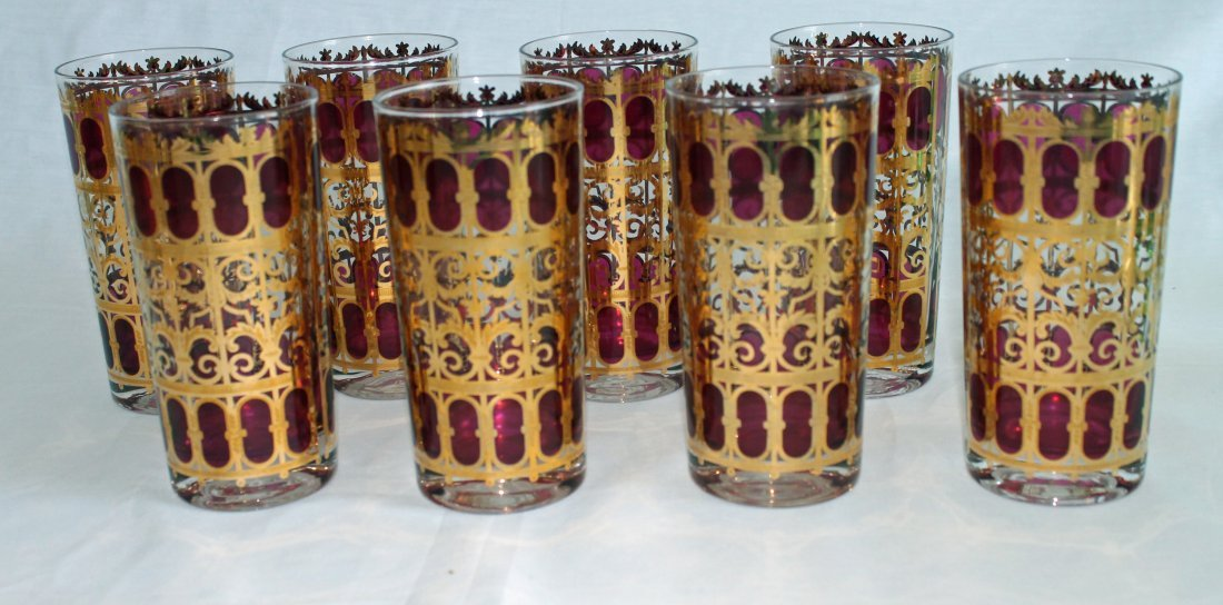 8  Highball Tumblers - Culver Glass - Cranberry Scroll