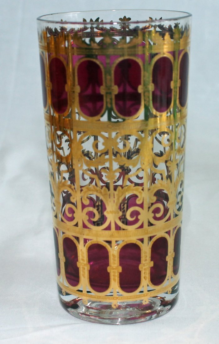 8  Highball Tumblers - Culver Glass - Cranberry Scroll - 2